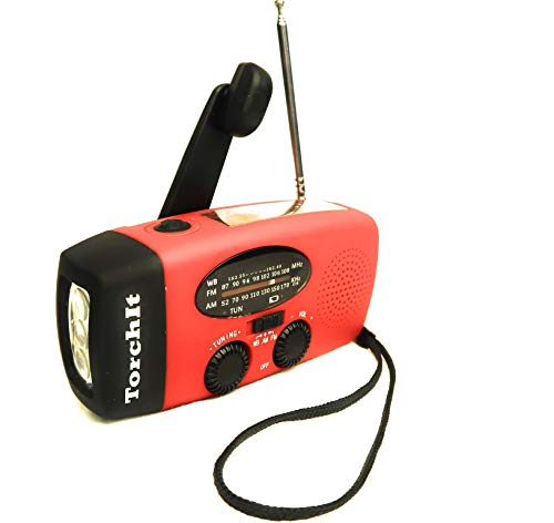 Fm Telephone Bug - Torchit Hand Crank Self Powered Solar Emergency Weather Radio AM/FM/NOAA Portable Phone Charger Power Bank (Red)