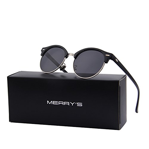 MERRY'S Polarized Sunglasses for Men Women Semi Rimless Retro Brand Sun Glasses S8054 (Silver&Black, 56)