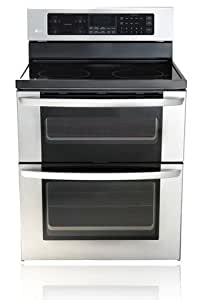 LG LDE3011 6.7 Cu. Ft. Capacity Electric Double Oven Range with a Tall Upper Oven and Intui, Stainless Steel