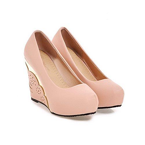 AgooLar Damen Ziehen auf Hoher Absatz PU Rein Rund Zehe Pumps Schuhe Pink