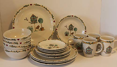 - Thomson Birdhouse 20 pcs Dinnerware Set ~ Dinner Plates-Salad Plates- Bread & Butter Plates - Soup Bowls - Mugs -Discontinued 2006