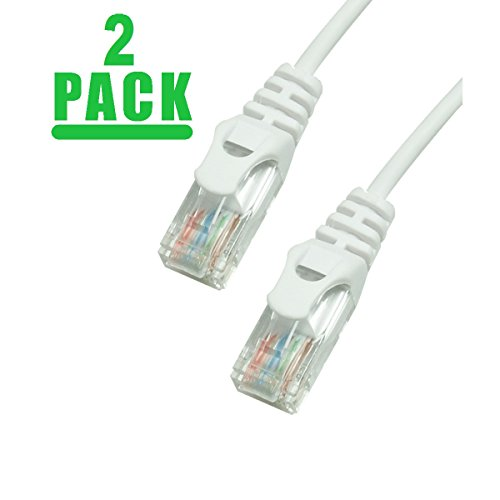 - Grandmax 2 PACK - SLIM CAT6 35 Foot RJ45, 550MHz, UTP Ethernet Network Patch Cable Snagless/ Molded Ferrari Boot/ WHITE