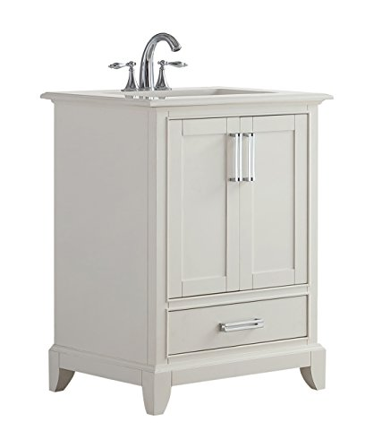 Simpli Home AXCVGNW-24 Elise 24 inch Traditional Bath Vanity in Soft White with Bombay White Engineered Quartz Marble Top
