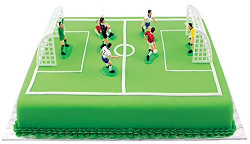 PME FS009 Football/Soccer Toppers for Cake and Cupcakes Set of 9, Standard, Multicolor (Mini Soccer Cake Topper)