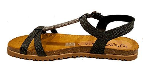 Oh my Sandals - Sandalia Bio plana de Piel - Plomo - 3635