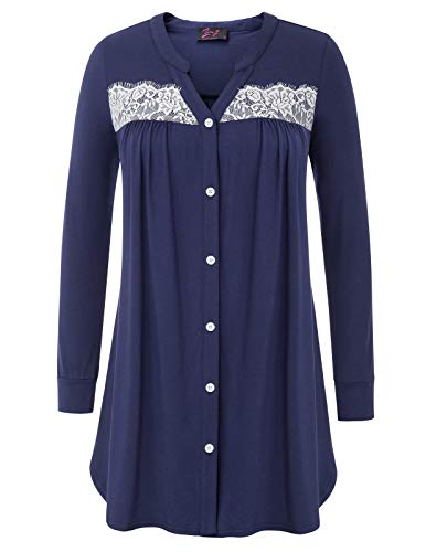 Gown Autumn (Zexxxy Women Sleep Shirts Dress Button Down Cotton Pajama Gown for Autumn Black XL)