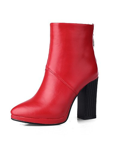 Trabajo Cerrada Xzz Cn39 Vestido De Y Uk6 Casual Punta us6 Oficina Mujer Puntiagudos Marrón Botas Tacón Red Robusto Eu36 Eu39 Zapatos Uk4 us8 Cn36 Red Semicuero negro Cn PPCrwq0