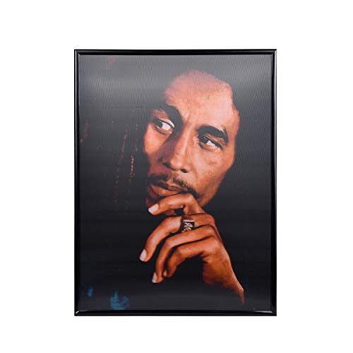 (AGCary 3D Bob Marley Poster Wall Art Decor Framed Print Lenticular Posters wiht Poster Sticker for Living Room, Bedroom, Hotel, Dining Room Holographic Pictures 12x16 Inch)