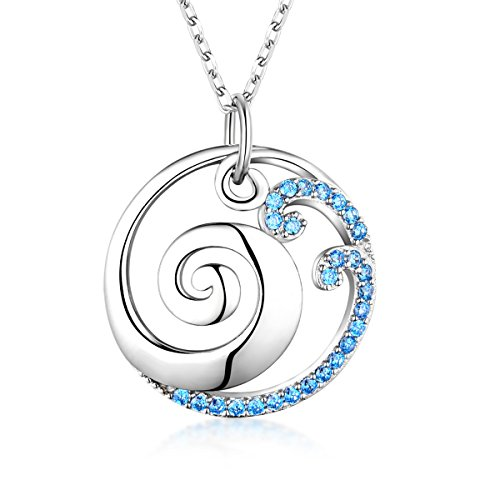 Silver Wave Sterling Pendant - Bellrela 925 Sterling Silver Ocean Wave Pendant Necklace