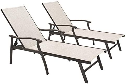 Crestlive Products Aluminum Adjustable Chaise Lounge Chair Five-Position and Full Flat Outdoor Recliner All Weather for Patio, Beach, Yard, Pool 2PCS Beige