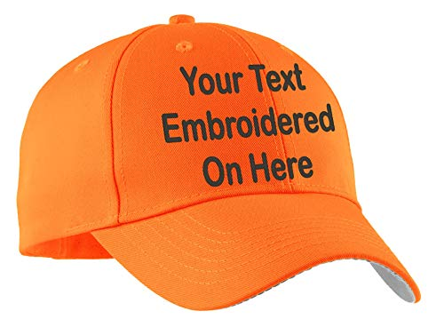 Custom Hat, Embroidered. Your Own Text. Adjustable Back. Curved Bill (Fluorescent Safety Orange Enhanced Visibility Cap)