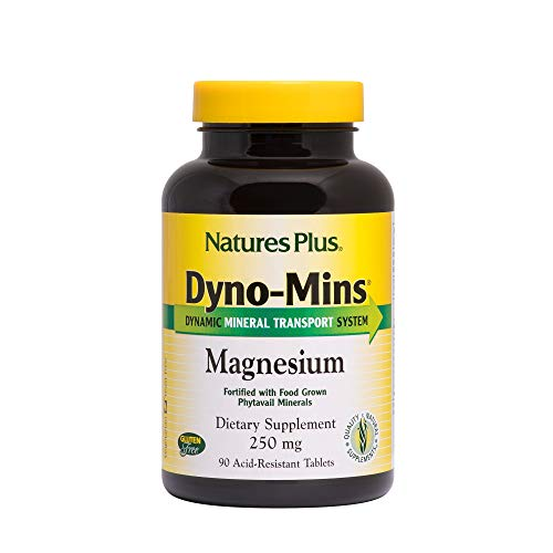 Natures Plus Dyno Mins Magnesium - 250 mg, 90 Vegetarian Tablets, Acid Resistant - Bone Health Support Supplement, Promotes Heart Health, Calm - Gluten Free - 90 Servings