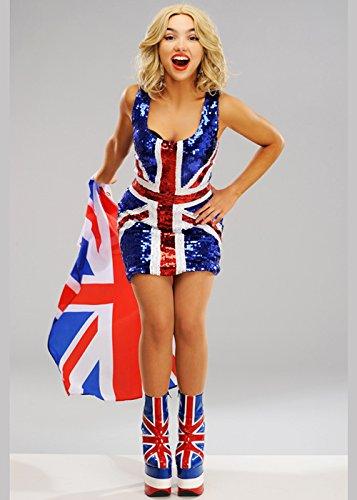 Delights Gran Bretagna Vestito con Paillettes con Paillettes Union Jack Large (UK 16-18)
