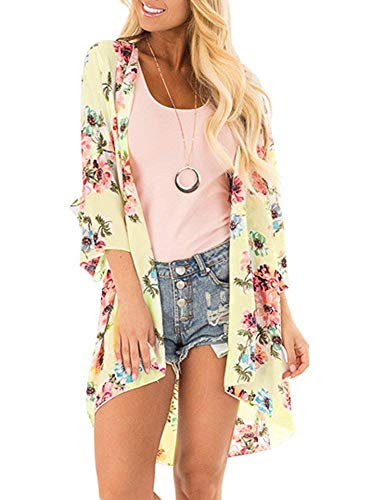 Women's Floral Kimono Cardigan Summer Loose Shawl Chiffon Beach Blouse Cover up XXX-Large z-Green