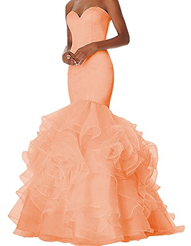 Dannifore Peach Sweetheart Ruffles Long Prom Evening Dresses Party Ball Gown Size (Organza Sweetheart Floor)