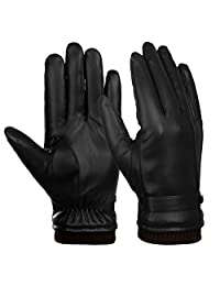 Vbiger Leahter Gloves Mens Warm Winter Gloves Cycling Driving Gloves