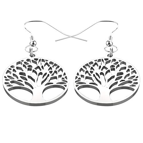 Hoyoo Jewelry Stainless Steel Tree of Life Dangle Earrings for Womens, Round Shape, ()