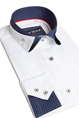 - Lyon Becker Mens Italian Shirts Double Collar Slim Fit Casual Button Down Shirt (L, White/Navy-FC01)