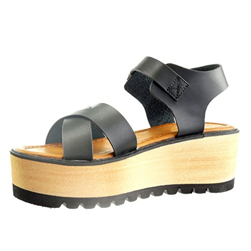Angkorly - damen Schuhe Sandalen - Plateauschuhe - Offen - String Tanga - Multi-Zaum Keilabsatz high heel 6 CM - Schwarz