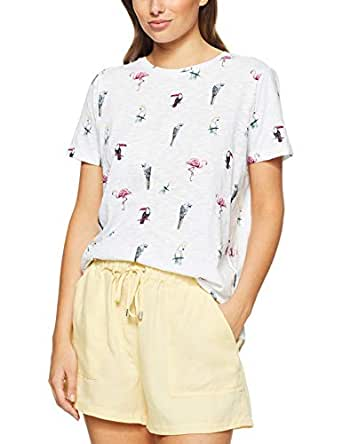 French Connection Women's Birds in The Paradise TEE, Summer White/Multi, Small