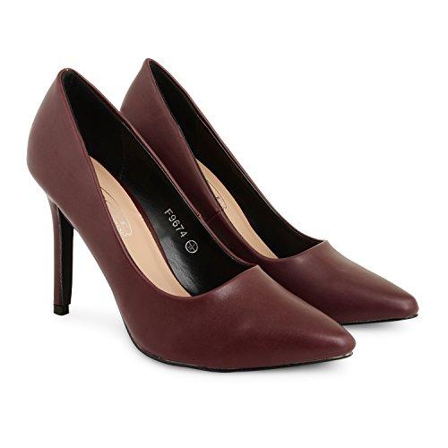 Tilly Shoes punta tacón BODA novia Prom Smart trabajo fiesta noche Oficina de Trabajo Zapatos Bombas Tamaño - burdeos