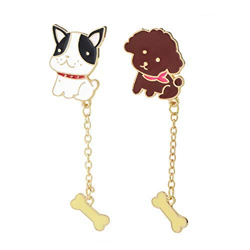 - GaFree Jewelry Cute Cartoon Animal Brooch Pin Enamel Lapel Pin Sets (Teddy + Bulldog)