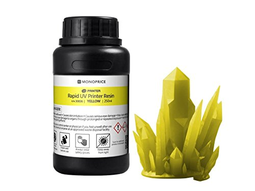 Monoprice Rapid UV 3D Printer Resin 250ml - Yellow | Coatible With All UV Resin Printers DLP, Laser, or LCD by Monoprice