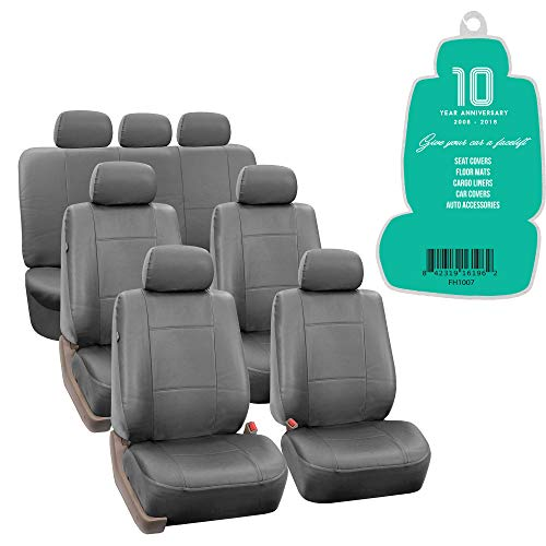 (FH Group FH-PU002-1217 3 Row PU Leather Car Seat Covers w. 7 Headrests, Airbag Compatible and Split Bench, Solid Gray Color- Fit Most Car, Truck, SUV, or Van)