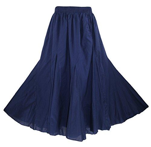 - Beautybatik Navy Blue Cotton Boho Gypsy Long Maxi Godet Flare Skirt 2X