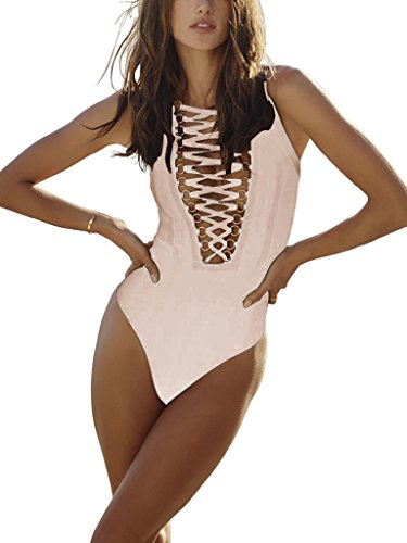 S Curve Women's Cross Strings Front Lace up Bandage Bodysuit Nude Large