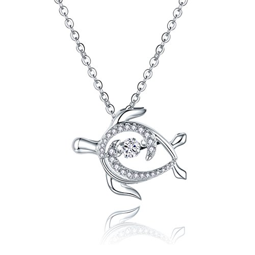 JO WISDOM 925 Sterling Silver Sea Turtle Pendant Necklace with 5A Dancing Diamond Cubic Zirconia,18-20
