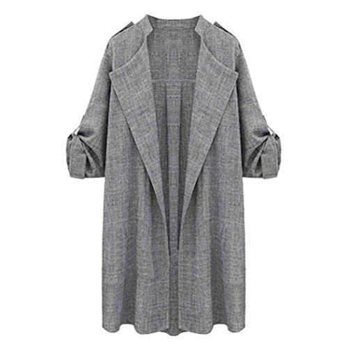 Abrigo de Mujer de Gran Tamaño Abierto, Logobeing Elegante Otoño Chaquetas de Abrigo Cardigan Cascada de Abrigo de Poliéster Gris