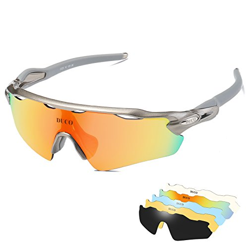 e6924731152 DUCO Polarised Sports Mens Sunglasses for Ski Driving Golf Running Cycling  Tr90 Superlight Frame With 5 Interchangeable Lenses - Buy Online in Oman.