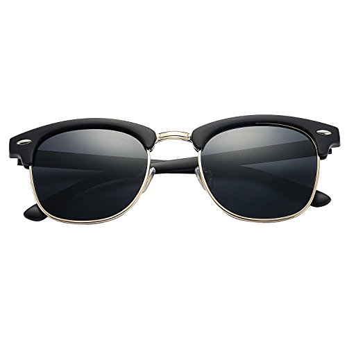 6e92f5eec8 Pro Acme Classic Semi Rimless Polarized Clubmaster Sunglasses with Metal  Rivets (Baby Matte Black