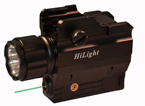 Tactical LED Flashlight and Green Laser Combo by HiLight for Pistols (W/Green Laser)