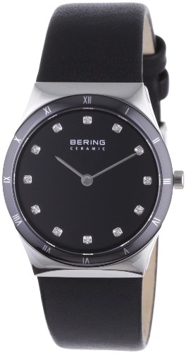 BERING Time 32230-448 Women's Ceramic Collection Watch with Leather Band and scratch resistant sapphire crystal. Designed in Denmark.