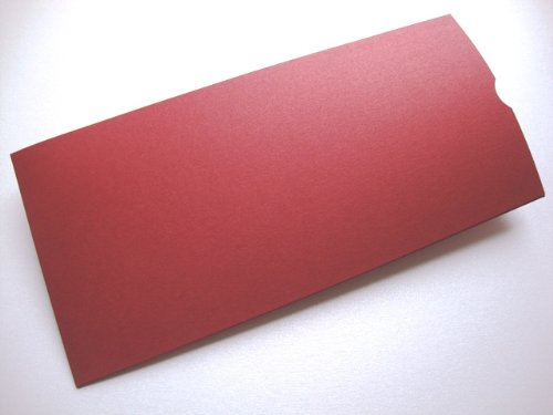 Cranberry Card Company Dl Pearlised Shimmer Blank Pocket Wedding Invites/Wedding Wallets/Money/Voucher Wallets With Plain White 100Gsm Envelopes (Red Lacquer, 25) (Cranberry Shimmer)