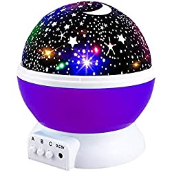 Star Projector Light, Moon Sky Night Light Star Light Rotating Projection Lamp Party Favor Gifts for 3-12 Year Old Girls Boys Toys Age 3-12 Purple