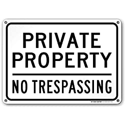 "Private Property No Trespassing Sign, Outdoor Rust-Free Metal, 10"" x 14"" - by My Sign Center, A82-147AL"