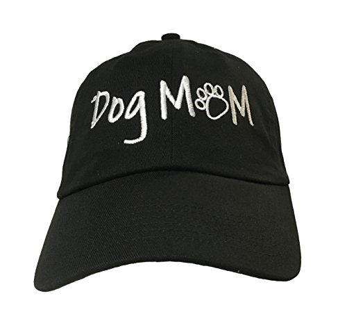 Dog Mom (with paw) – Black Embroidered Ball Cap