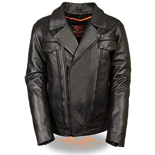 Milwaukee Leather MLM1520 Men's Pistol Pete Vented Black Leather Cruiser Jacket with Gun Pockets - Black/Large - LG