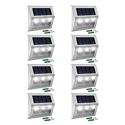 Cheap Outdoor Solar Step Lights, 8-Pack 3 LEDs Weatherproof Lighting Stainless Steel for Steps Stairs Paths Patio Decks Walkway Garden Yard #3101