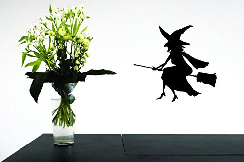 Decal Wall Sticker - ON SALE NOW : Witch In A Broom Halloween Holiday Trick Or Treat Home Decor Picture Art Size :20 Inches x 20 -