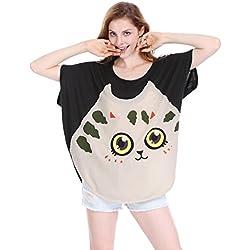 Allegra K Women Cat T Shirt Dolman Sleeve Loose Summer Tops Black XL