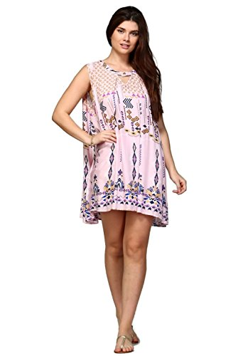 Boho-Chic Vacation & Fall Looks - Standard & Plus Size Styless - Velzera Women's Sleeveless Boho Print Tunic Mini Dress Boho Chic Reg & Plus Size (2X, Pink)