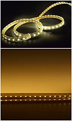 CBConcept® 9.9 Feet 120 Volt High Output LED SMD5050 Flexible Flat LED Strip Rope Light - [Christmas Lighting, Indoor / Outdoor rope lighting, Ceiling Light, kitchen Lighting] [Dimmable] [Ready to use] [7/16 Inch Width X 5/16 Inch Thickness]
