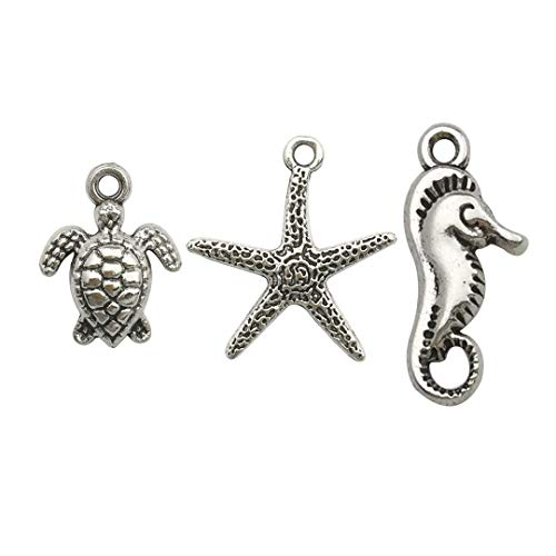 - 100g (75pcs) Craft Supplies Antique Silver Marine life Animals Turtle starfish Seahorse Charms Pendants for Crafting, Jewelry Findings Making Accessory For DIY Necklace Bracelet (Silver Marine Life)