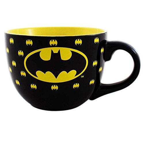 Silver Buffalo KB1324 DC Comics Batman All Over Bat Logo Ceramic Soup Mug, 24 oz, ()