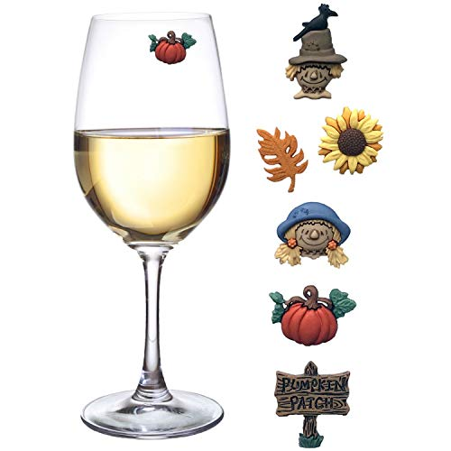 Fall Wine Charms - Magnetic Glass Markers Perfect for Autumn and Thanksgiving Set of 6 by Simply Charmed