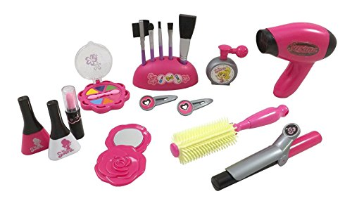 Stylish Girls Deluxe Beauty Salon Fashion Play Set with Hairdryer, Curling Iron, Mirror & Styling Accessories